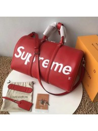 Best Louis Vuitton Epi Leather Keepall SUPREME 45CM M53419 with Shoulder Strap red HN04523